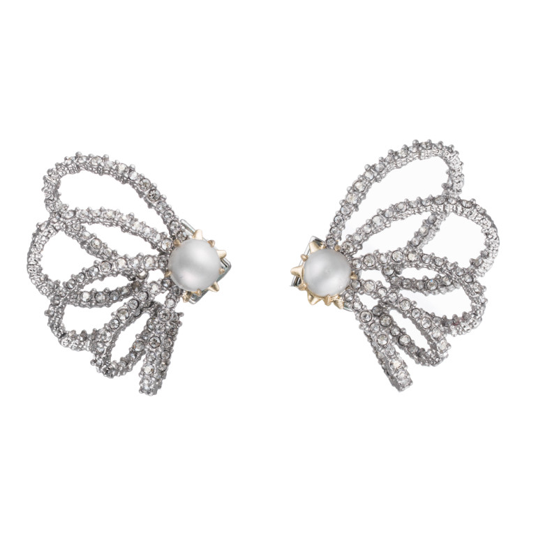 crystal lace orbiting pearl post earrings   roberts fine