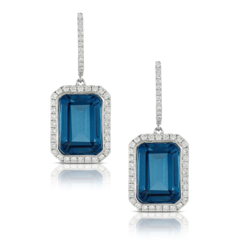 Emerald Cut London Blue Topaz with Diamond Halo Earrings