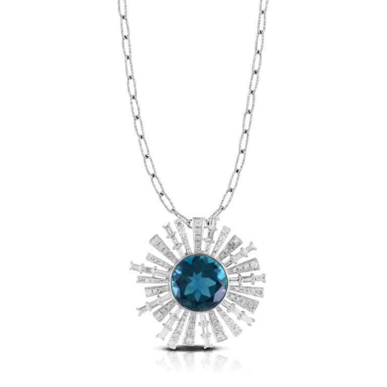 London Blue Topaz Necklace with Starburst Diamond Halo