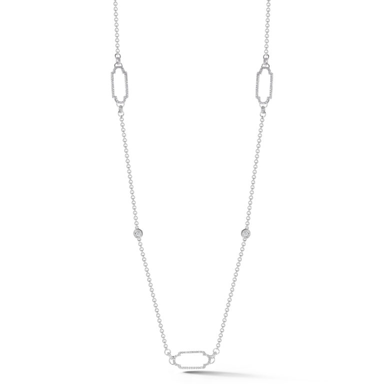 Double Side Pave Deco Shaped Necklace